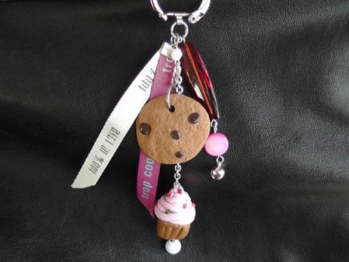 Pampilles de sac  ou porte clés Cup Cake rose -cookie