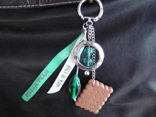 Pampilles de sac ou Portes clés Biscuit - Turquoise